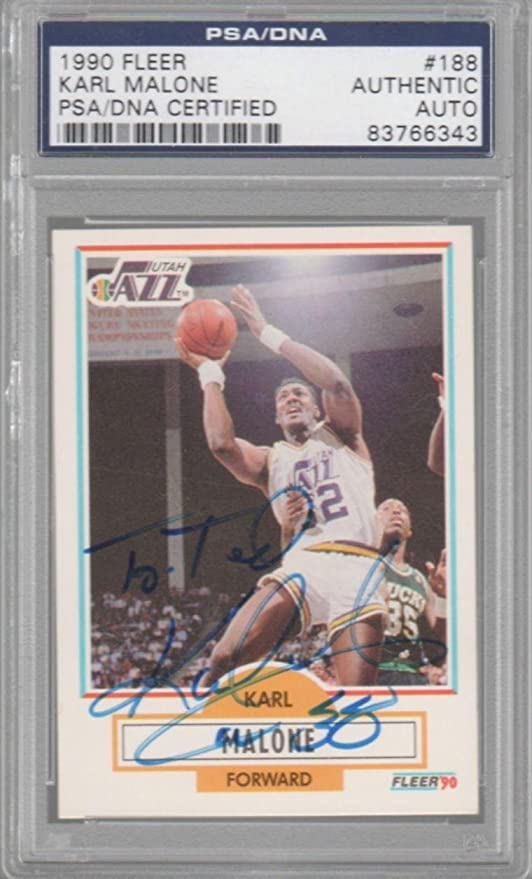 a7bdb763d80 Karl Malone Utah Jazz 1990 Fleer Signed AUTOGRAPH - PSA DNA Certified -  Basketball Slabbed