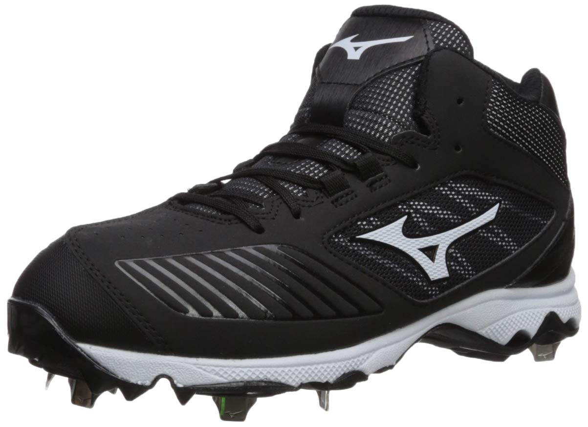 Mizuno Women's 9-Spike Advanced Sweep 4 Mid Metal Softball Cleat Shoe, Black/White 8 B US by Mizuno (Image #1)