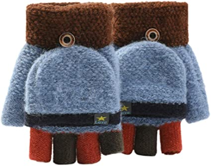 New Winter Children/'s Gloves Windproof Solid Half Finger Durable Knitted Gloves