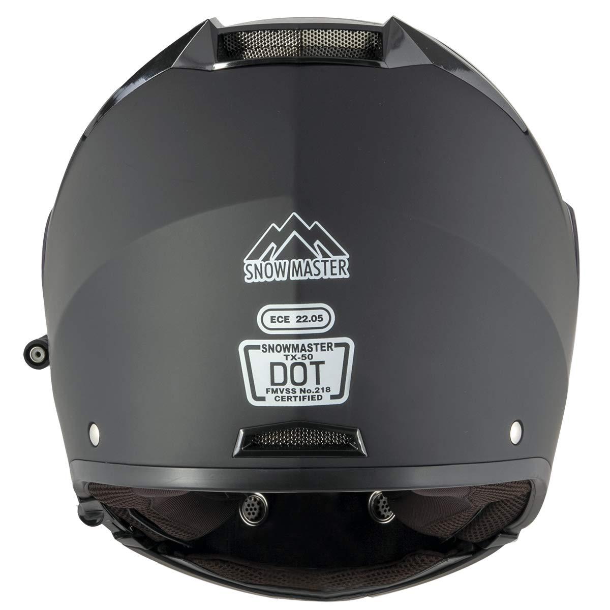 Snow Master TX-50 Flat Black Modular Dual Use Snowmobile and Street Helmet Flat Black//Small Snow Master Helmets