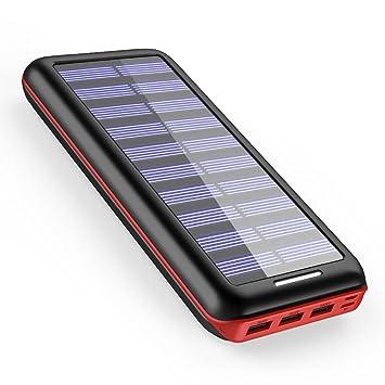 Batería externa AKEEM 22000mAh Cargador Solar,3 puertos USB Cargador portátil externo,Power bank para iPhones, iPads, Samsung Galaxy, Android y otros ...