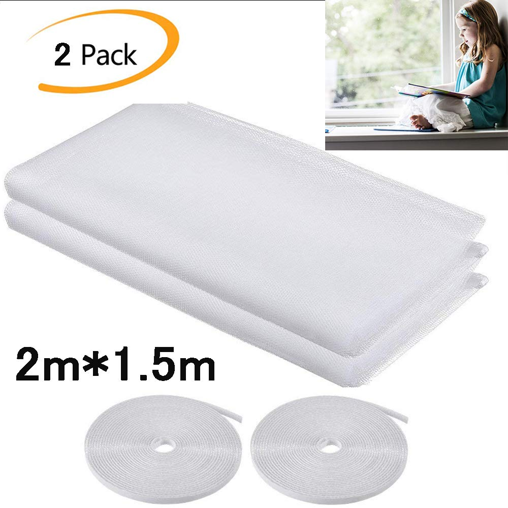2 Pack Fly Screen Net for Window Insect Screen Mesh Mosquito Protector Kit, 2.0m x 1.5m with 2 Rolls Self-Adhesive Tapes White maoer