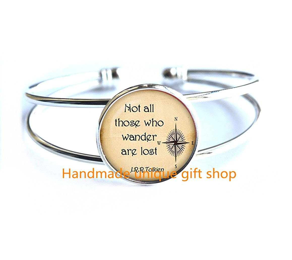 Birthday gift,quote Bracelet-RC079 Quote jewelry Quote Bracelet Dainty Bracelet Simple Bracelet,Not all those who wander are lost Quote Bracelet