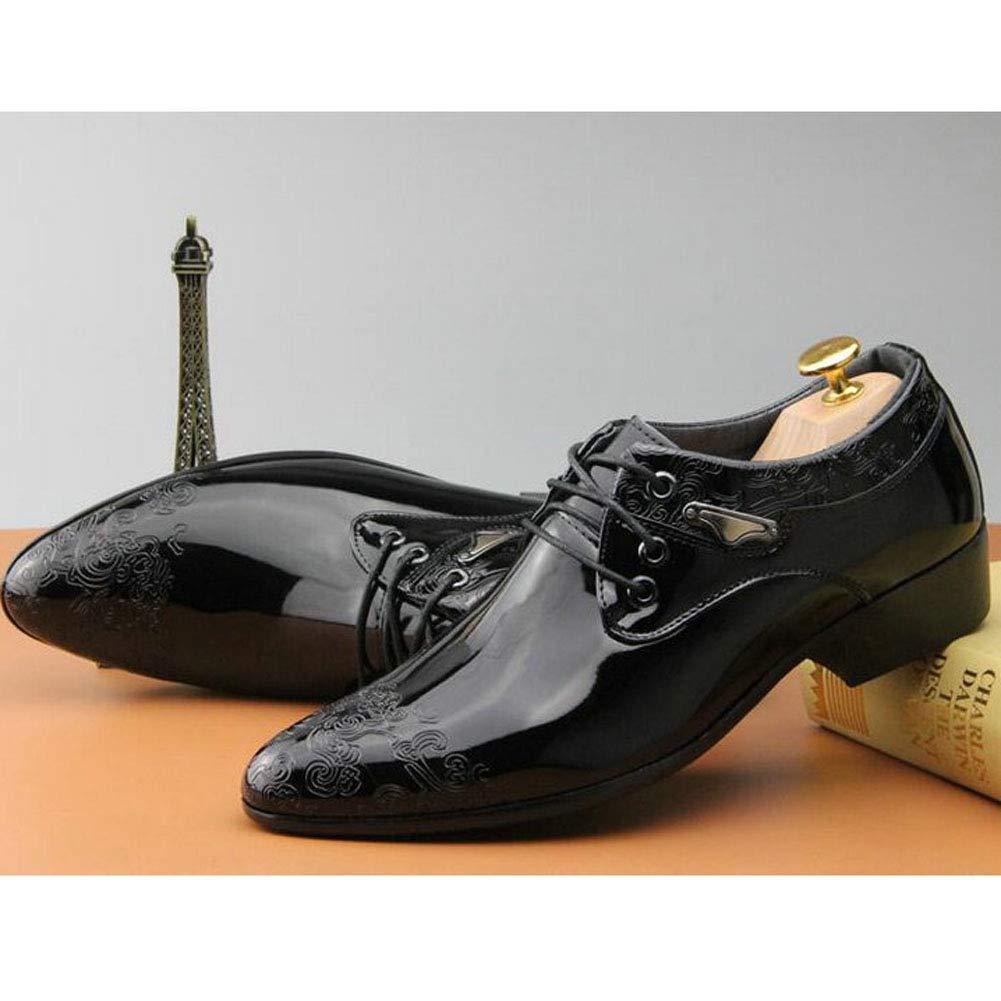 Feidaeu Chaussures habill/ées Oxford pour Hommes en Cuir avec Robe de mari/ée Noire sculpt/ée dans des Chaussures de Travail Plates et Pointues