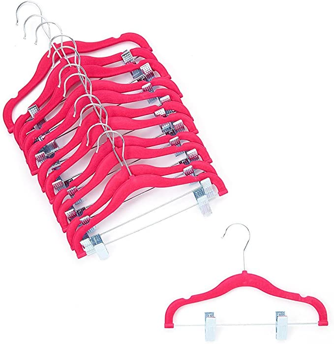 50X Clothes Hangers Pink Baby Coat Trouser Toddler Children Kids Plastic Slim