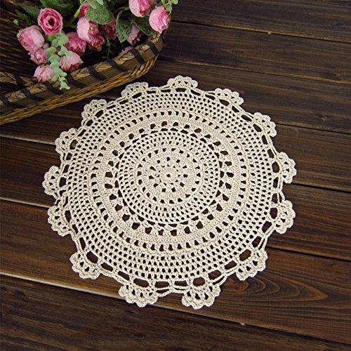 "yazi Handmade Cotton Coaster Lace Doilies 10"" Set of 4"