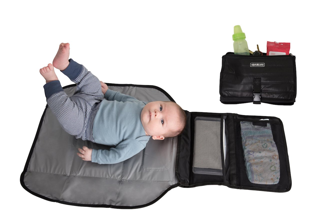 Alphabetz Portable Baby Changing Pad Diaper Bag Mat & Foldable Travel Changing Station with Bonus Wipe Case, Black by Alphabetz