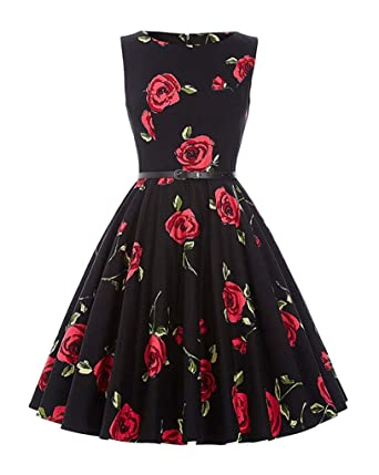 ZiXing Retro Vestido de Mujer 1950s Falda Plisado Vintage Cuello ...