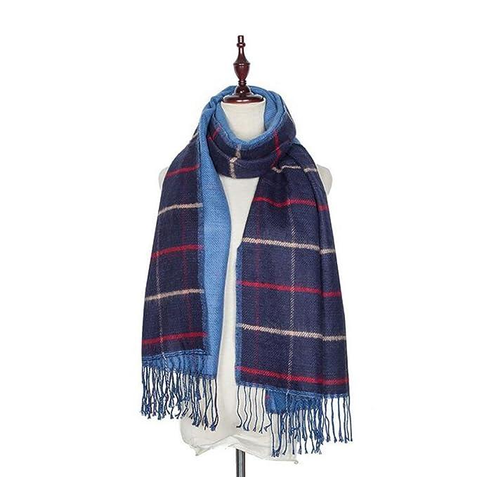 Beatayang Enveloppe d écharpe de châle à carreaux Cozy Blanket Vérifié femmes  Lady Tartan surdimensionné e5812b38792