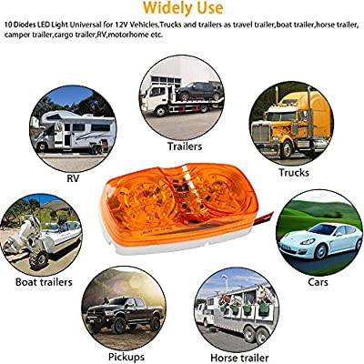 NEW SUN 5x LED Side Marker Lights 10 Diodes Double Bullseye Amber LED Replacement Clearance Lights for Camper RV Boat Trailers: Automotive