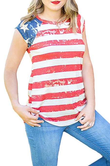 08fce3864b0e6c Amazon.com  For G and PL Women s July 4th American Flag Tops  Clothing