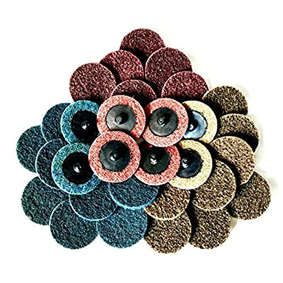 DocaDisc 2 inch Roloc Quick-Change Surface Conditioning Discs 30 PCS mixed pack sanding discs for surface prep, paint & rust stripping, grinding, polishing & finishing R-Type Course Medium Fine grit