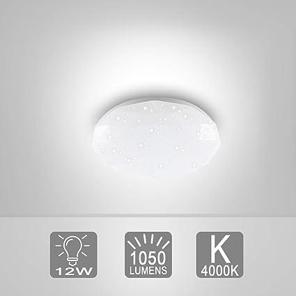 Lámpara LED de techo I Lámpara con efecto de destello I Tarjeta LED I Plafón de techo I Blanco I Simulación de estrellas I Color de la luz blanco frío I 230 ...