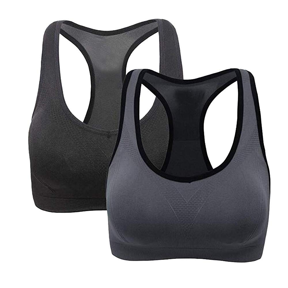 2 Pack Racerback Sports Bras - Padded Seamless High Impact Support for Yoga Gym Workout Fitness