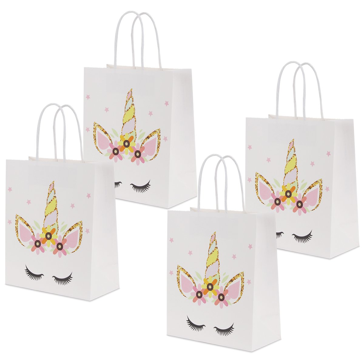 RecooTic Unicorn Party Bags with Handles Gift Bags for Kids Party Supplies Pack of 12