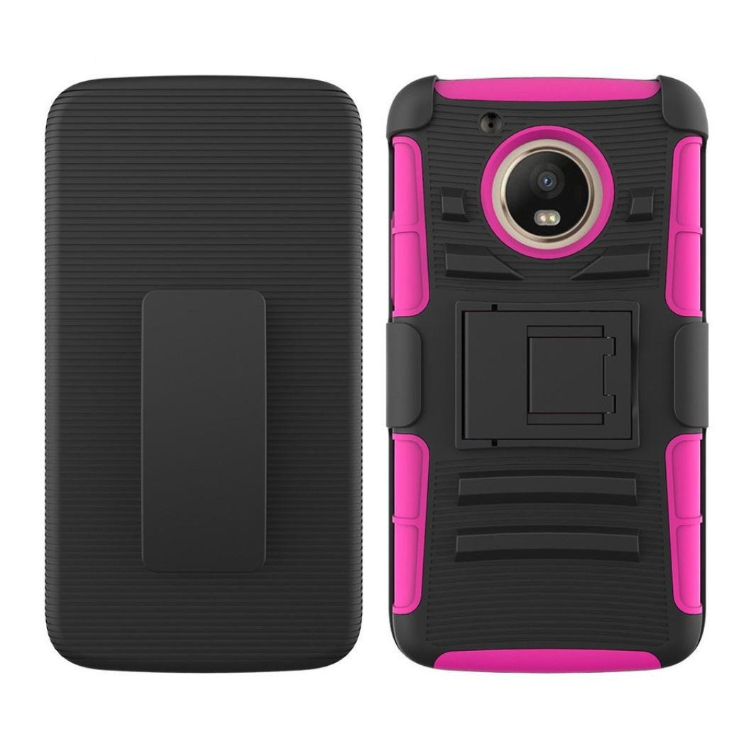 For Motorola Moto E4 2017/G5 Case Sinfu Protective Hybrid Kickstand Holster Belt Clip Case Cover (D)