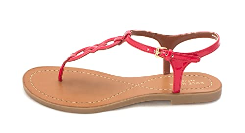 Cole Haan Womens Escape Logo Flat Sandal Open Toe Casual Tango Red Size 60