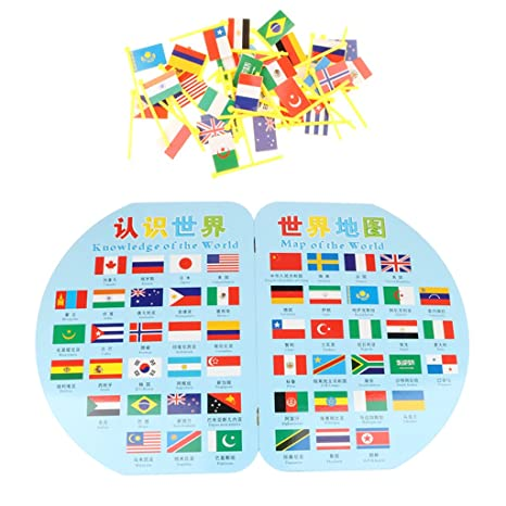 Amazon com: MagiDeal Wooden World Map with 36 Flags Toy Set