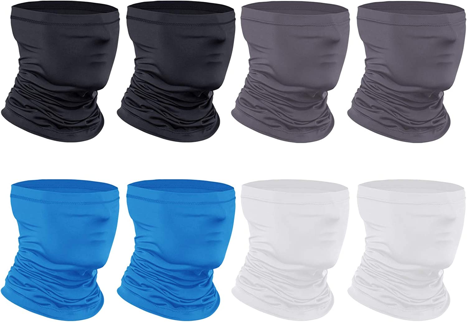 [8-Pack] Neck Gaiter Scarf, Breathable Bandana Face Mask Cooling Neck Gaiter for Men Women Cycling Hiking Fishing.
