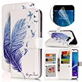Samsung Galaxy Note 5 Case, Luxury Dual Wallet Case [9 Card Holder] Premium PU Leather Multifunctional Embossing Pattern Book Style Magnetic Flip Stand Feature Cover Slim Protective Money Pocket Bumper - Blue Feather
