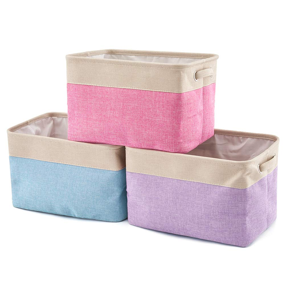 EZOWare Set of 3 Large Canvas Fabric Tweed Storage Organizer Cube Set W/Handles for Nursery Kids Toddlers Home and Office - 15 L x 10.5 W x 9.4 H -Mixed Crème