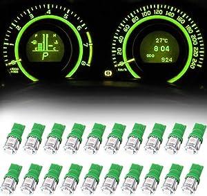 Frontl T10 LED Dash Light Bulbs Green 5-5050 SMD LED Bulbs 194 168 LED Light Bulbs Instrument Panel Gauge Cluster Indicator Lights,20Pack