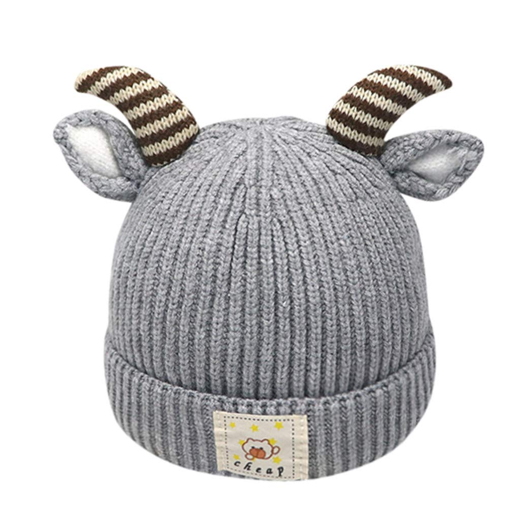Blustercool Baby Boys Girls Kids Knitting Hat Warm Winter Bobble Beanie Cap Wool Hemming Hat Antlers Christmas Hat for 2-8 Years Old