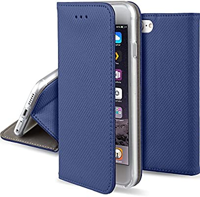 release date: fec23 bc0c1 iPhone 5s SE Flip case Dark blue - Moozy® Smart Magnetic Flip cover with  folding stand and silicone phone holder