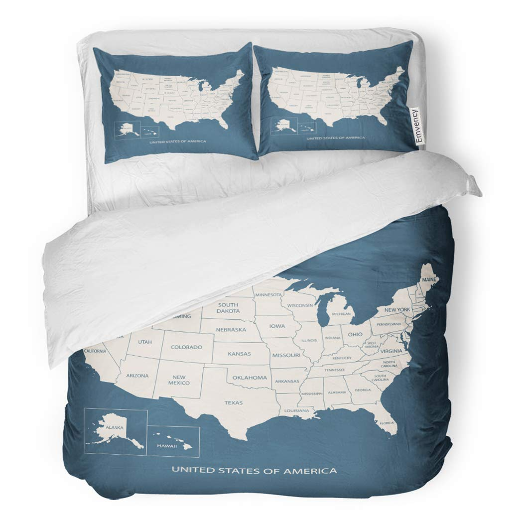 SanChic Duvet Cover Set USA Map Name of Countries United States America Decorative Bedding Set with 2 Pillow Shams King Size