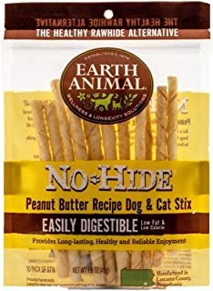 product image for Earth Animal No-Hide Peanut Butter Stix Natural Rawhide Alternative Dog & Cat Chews, 10-Count