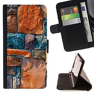 Momo Phone Case / Flip Funda de Cuero Case Cover - Piedra Architecture Pared Dise?o Rocas colorido - LG Nexus 5 D820 D821