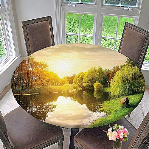 Mikihome Chateau Easy-Care Cloth Tablecloth Decor Collection Sunset Over Calm River Grass Willow Trees Grass Rocks Reflection Light for Home, Party, Wedding 50