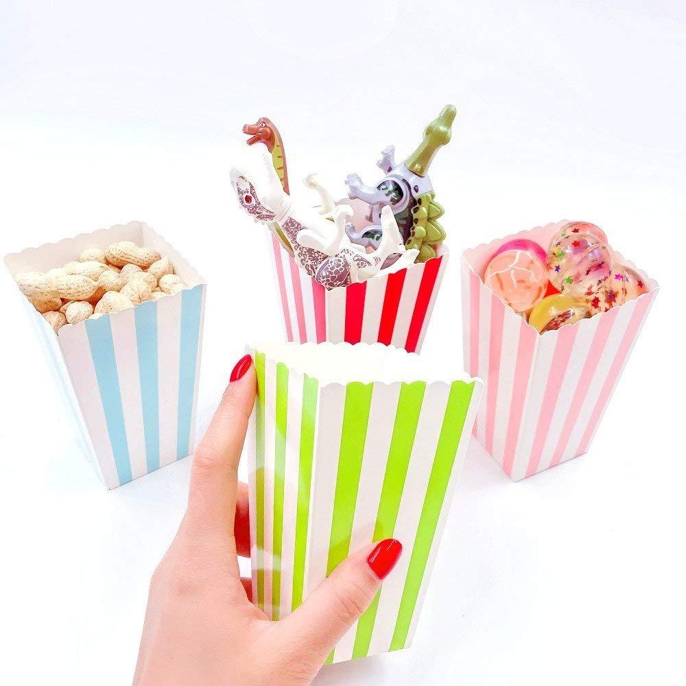 rosa blu rosso verde JZK 48 Righe piccole scatole pop corn carta contenitore per popcorn patatine caramelle spuntini stuzzichini per bomboniere regalino pensierino festa compleanno bambini