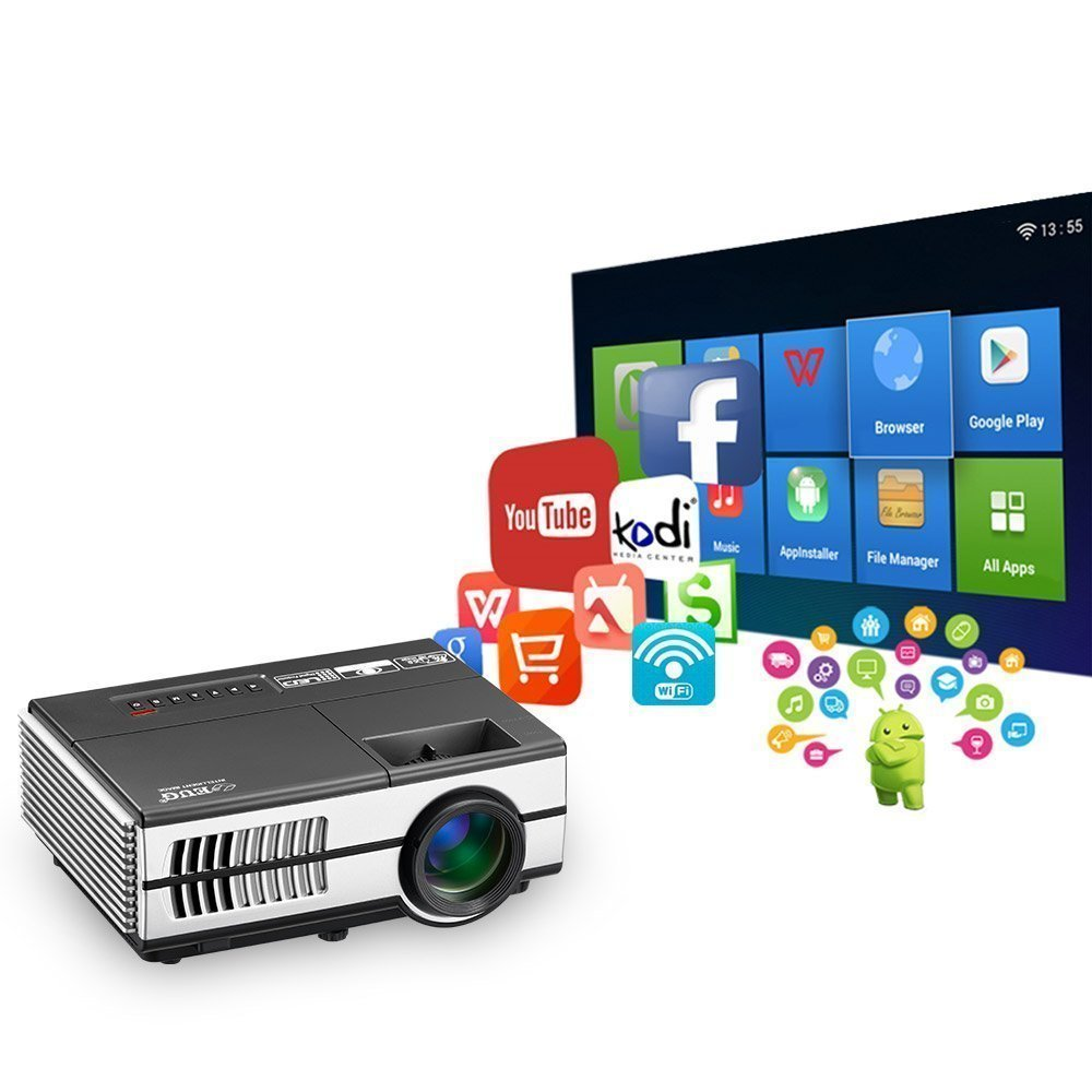 Wireless Mini Projector LED LCD- 1500 Lumens 1080P Multimedia for Home Theater Cinema Movie Video Games Outdoor Party including Built-in Speaker, Keystone, HDMI, USB, VGA, 3.5mm Audio jack, Remote by EUG (Image #1)