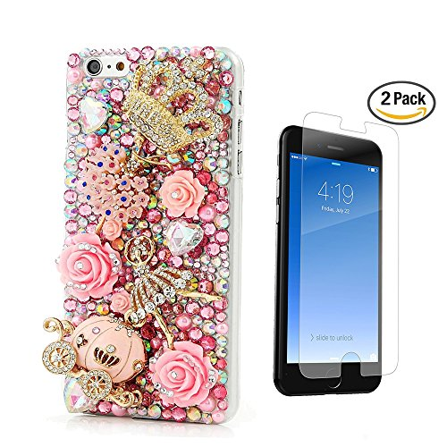 STENES iPhone 6 Case - [Luxurious Series] 3D Handmade Crystal Sparkle Bling Case With Screen Protector & Retro Bowknot Anti Dust Plug - Crystal Crown Flowers Ballet Girls Pink Pumpkin Car Rose Flowers