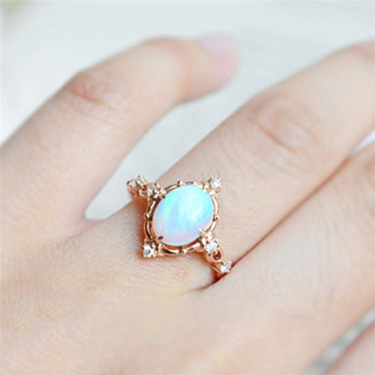 Amazon.com: JEWH Floral Opal Rings for Women - Vintage ...