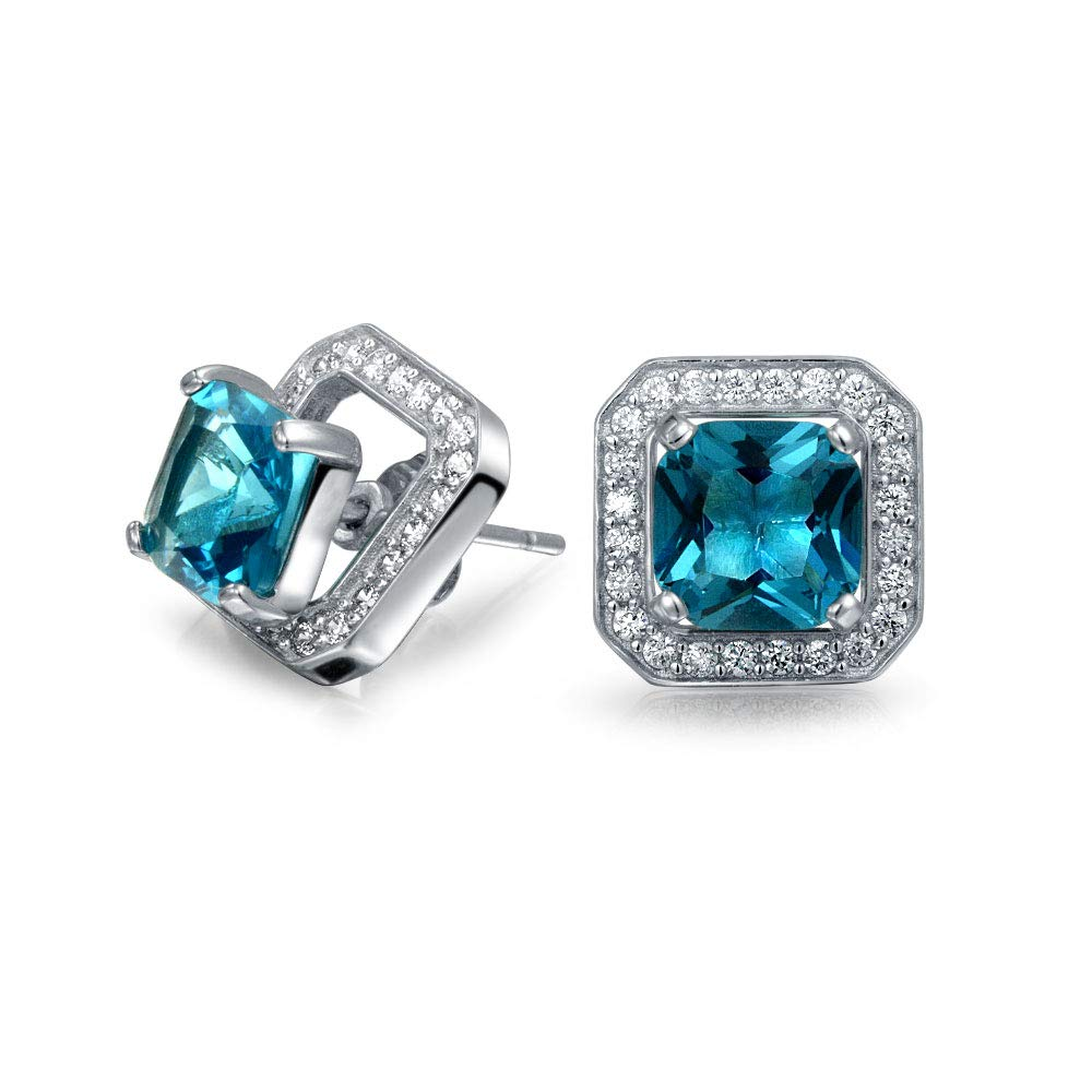 2CT London Blue Cubic Zirconia CZ Halo Square Earring Jacket Princess Cut Stud Earrings Simulated Topaz Sterling Silver by Bling Jewelry