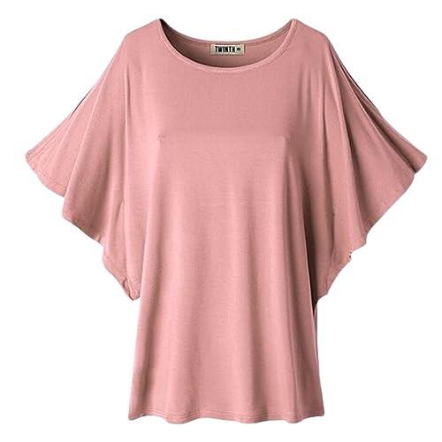 Uni-love Mujer Camisas Ocasional Otoño De gran tamaño Baggy Off-Hombro de manga corta Top Blusa Cami...