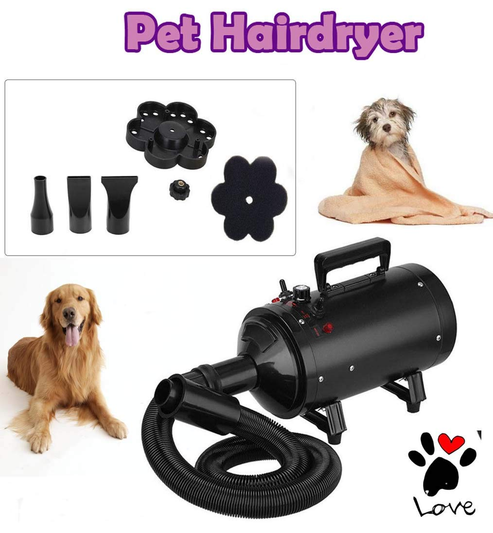 2800W Dog Cat Pet Hair Dryer Low Noise With Stepless Speeds, Adjustable Temperature Grooming Blaster, Pet Hairdryer With 3 Nozzles Flexible Hose