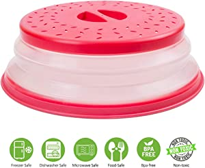 Microwave Plate Cover by Annaklin, Prevents Food Splatter, Collapsible Microwave Cover for Food, Vented, BPA-Free & Non-Toxic, 10.5 Inch, Red