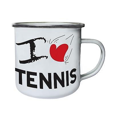 J'aime le tennis Rétro, étain, émail tasse 10oz/280ml cc942e