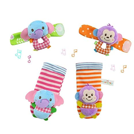 YeahiBaby 4pcs bebé muñeca animales sonajeros infantil manos pies buscadores desarrollo peluches (mono y elefante