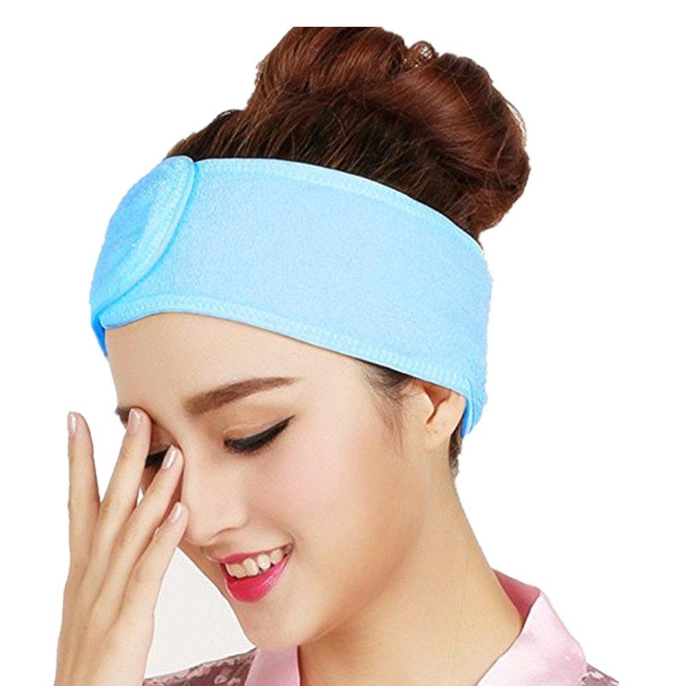 Westeng donne fascia di capelli in cotone fascia per cura viso trucco bagno doccia, blu