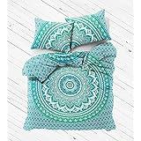 Indian Green Ombre Twin Size Mandala Duvet Cover, 100 % Cotton Mandala Reversible Duvet Cover, Indian Mandala Bedspread, Boho Comforter Cover By Sophia Art