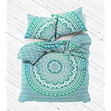 """Exclusive BOHO DUVET COVER WITH PILLOWCASES By """"MADHU INTERNATIONAL, Green ombre mandala tapestry duvet cover, bohemian comforter cover, Free mandala i-Phone Cover"""