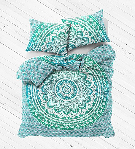(Reversible Ombre Mandala DUVET COVER Tapestry/Hippie Mandala Bohemian Cotton Bedding Comforter Set By Sugun Creation Full Size (80x82 inches))