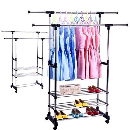 Karmas producto portátil doble barra perchero ajustable ropa ...