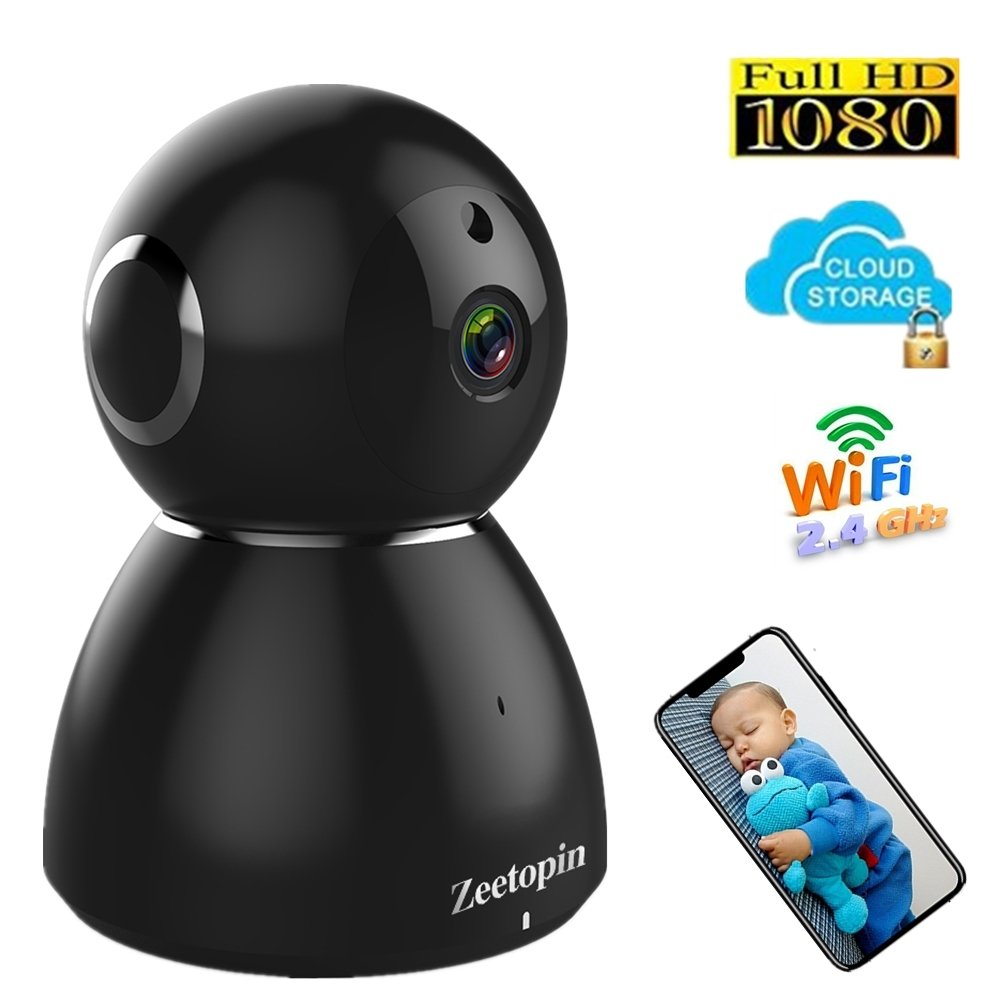 1080p Home Camera, HD Indoor Security Pan/Tilt/Zoom Wireless Camera with Night Vision for Home/Office/Baby/Pet Remote Monitor with iOS, Android App – AMS Cloud & SD Card Storage Available by Zeetopin