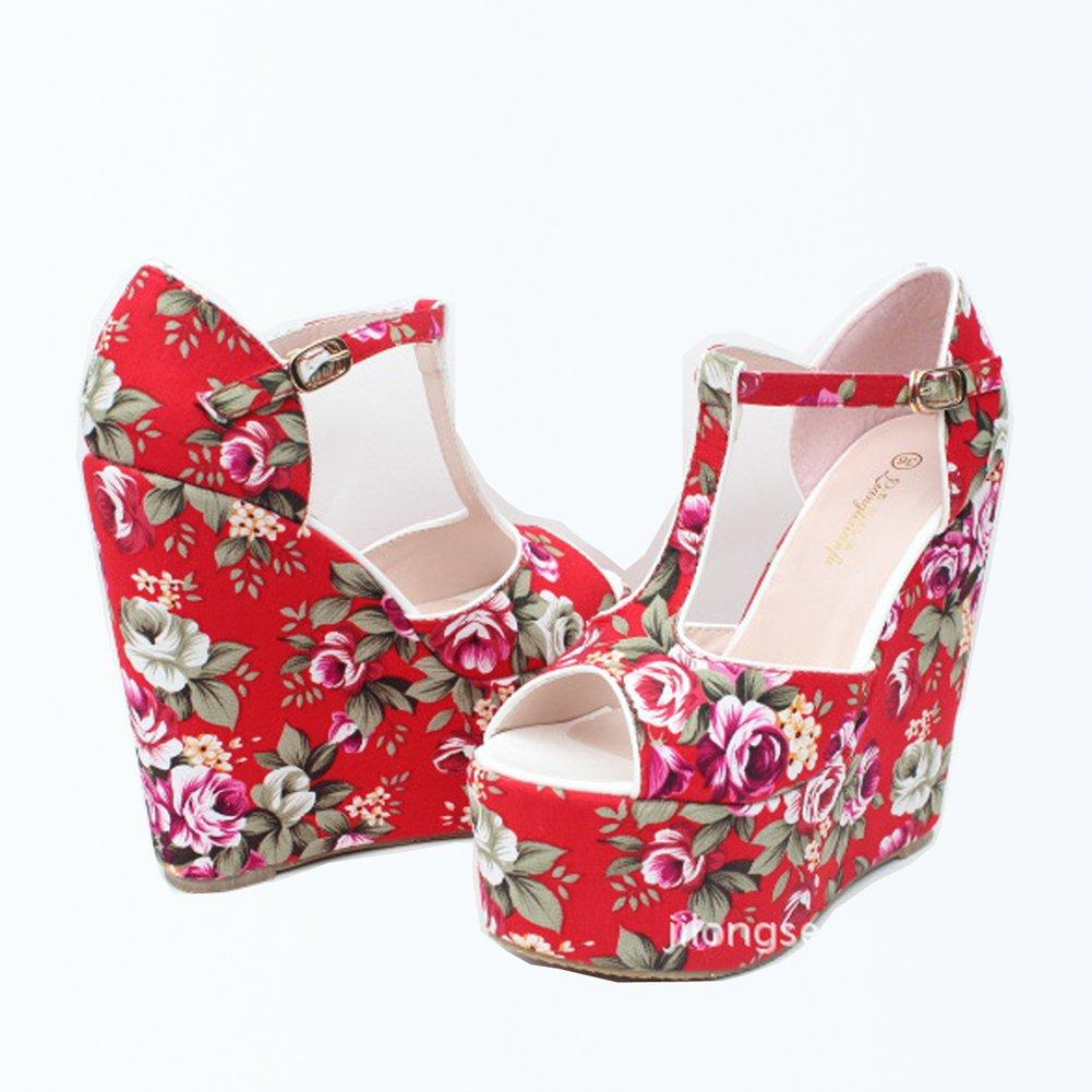 fereshte Women's Floral Print Peep Toe Ankle EU T-Strap Platform Wedge Sandals EU Ankle 30 - US 2 A# Red B01BUYP5CW 8e4c5e