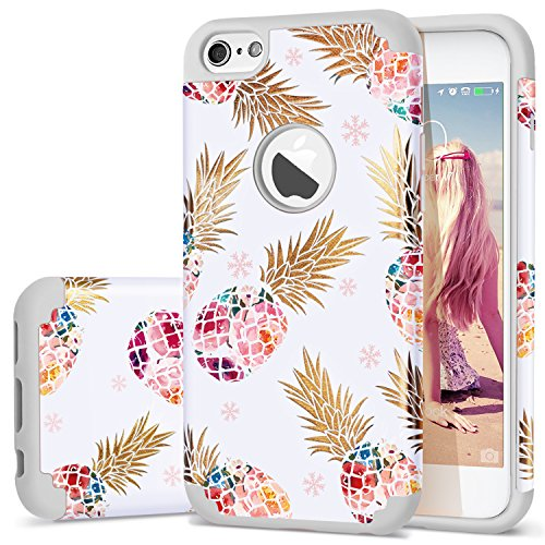 iPhone 6s Case,iPhone 6 Case Pineapple,Fingic Ultra-Thin Floral Pineapple Bumper Anti-Scratch&Fingerprint ShockProof Skin Case Cover for Apple iPhone 6/iPhone 6S (4.7 inch),Pineapple/Grey